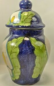6 1/4 Inch Tall Tibor Calla Lily Mini Ginger Jar With Lid Mexico Unmarked