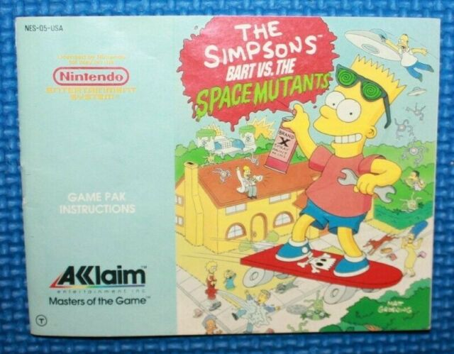 Nintendo NES Game Manual: The Simpsons  Bart Vs The Space Mutants