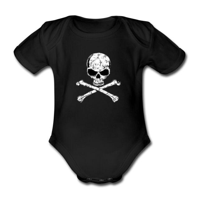 Baby Body Strampler PIRAT PIRATE Totenkopf metal Rock Festival fun Gothic Punk