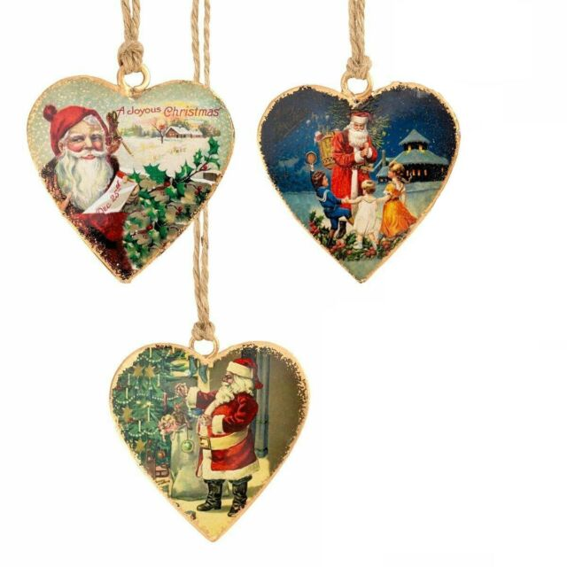 Set of 3 Vintage Victorian Father Christmas Santa Tree Decorations Metal Hearts