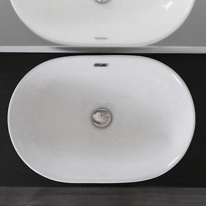Lavabo incasso soprapiano in ceramica 60x40 cm design moderno ovale arredo bagno ebay - Lavabo bagno da incasso ...