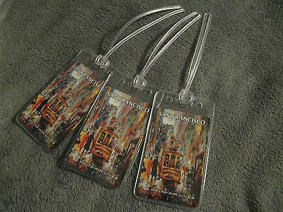 Delta Airlines San Francisco USA Vintage Playing Card Luggage Name Tag Tags (3)