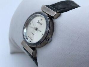 Henri.S Vintage Rare Ladies Watch Black Genuine Leather Band Analog Wrist Watch