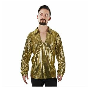 Adult Men's Gold Sequin 70s 80s Pimp Costume Disco Long Sleeve Shirt M/L XL XXL