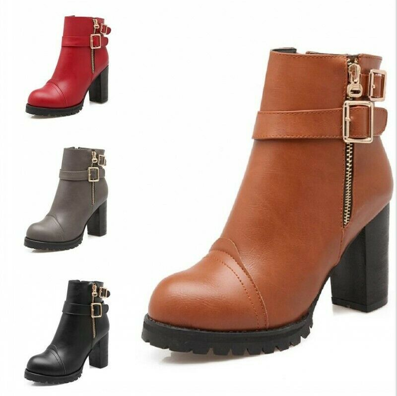 Women's Ankle Boots Gothic Buckle Strap Round Toe High Heel Booties Shoes Gothic