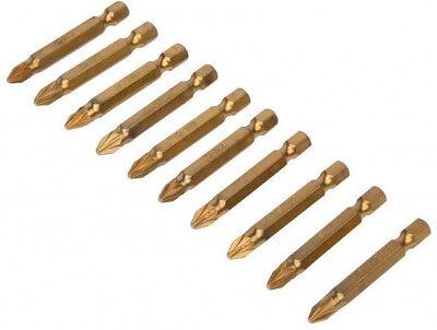 Hilka Tools 10 and 5  Pozi 2 Titanium Coated Pz2 S2 Steel Screwdriver Bits 50mm