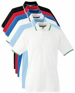 Fruit-of-the-Loom-BLUE-BLACK-WHITE-RED-Tipped-Contrast-Cotton-Sports-Polo-Shirt