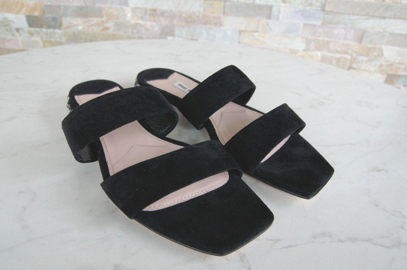 MIU MIU Gr 36,5 Pantoletten Pantoletten Pantoletten Sandalen Sandaletten Schuhe schwarz NEU 5ee0c3