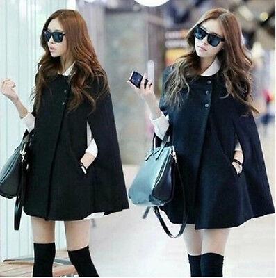 Womens Cape Black Batwing Wool Poncho Jacket Lady Winter Warm Cloak Outwear Coat