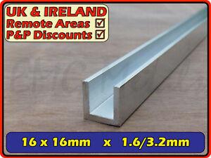 Aluminium Channel║16x16 mm║(C U section, gutter, profile, glazing,edging)