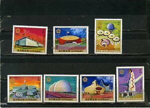 AJMAN-1970-ARCHITECTURE-EXPO-70-JAPAN-SET-OF-7-STAMPS-MNH