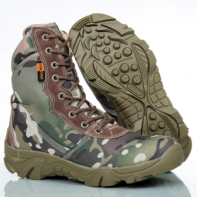 Men's Desert Ankle Boots Military Combat Hiking Patrol shoes Zipper High Top New