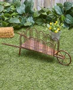 Farmhouse-Rustic-Metal-Wheelbarrow-Outdoor-Yard-Art-Lawn-Garden-Country-Decor