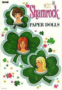 VINTAGE UNCUT 1960S SHAMROCK PAPER DOLL ~PRETTY~SAAFIELD~ORG SZ~RARE~LASR REPRO
