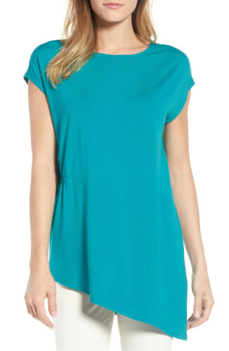 Petite PM PL Eileen Fisher Tunic Turquoise Stretch Jersey Asymmetrical
