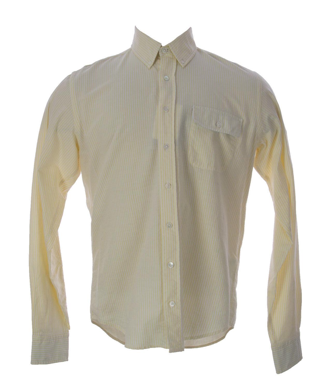 Gant Men's Lemon Fudge Striped Oxford Button-Up Shirt 390050  NEW