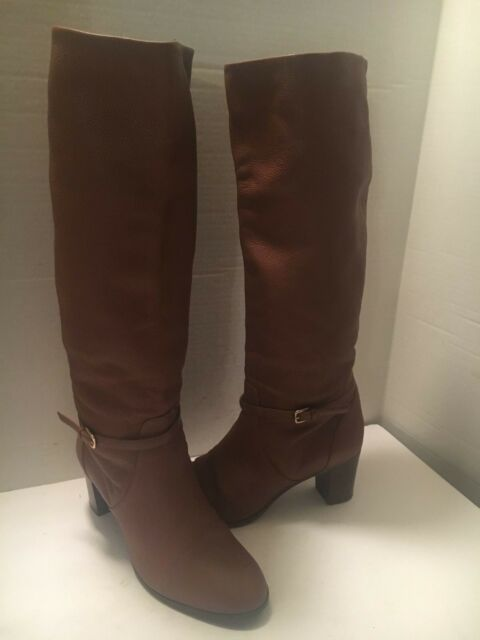 J CREW WOMEN'S CHESTNUT BROWN LEATHER KNEE HIGH BOOTS SIZE 10