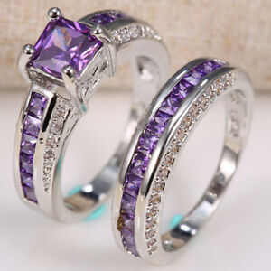 2-5ct-Amethyst-925-Silver-Women-Wedding-Engagement-Ring-Set-2pcs-Cocktail