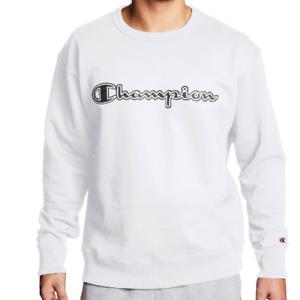 Champion Mens Athletics Powerblend Fleece Crew Sweatshirt Logo White Chainstitch
