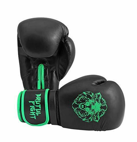 Brutul Fight Boxing Gloves 12 Oz|Black//Green Kickboxing Bagwork Gel Sparring