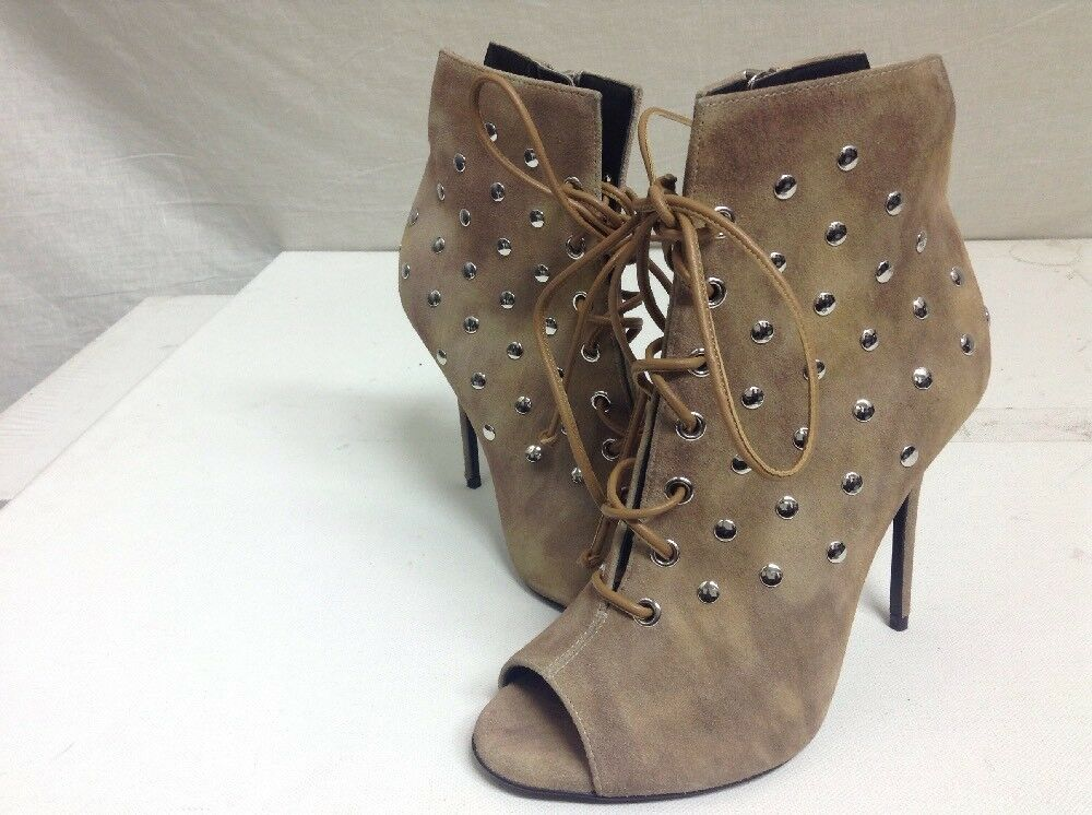 New GIUSEPPE ZANOTTI Jenny Suede Studded Ankle Boots, Brown 36 US 6  1150