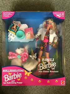 Details About Nrfb 12098 Rollerskating Rouli Barbie And Roll Along Puppy 1994 Canada Import