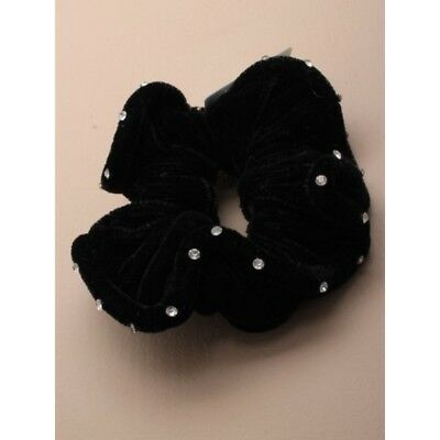 Diamante Velvet Hair Scrunchie Bobble with Sparkly Crystal  Black