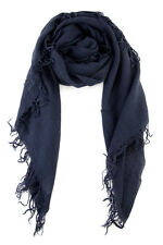 Chan Luu Cashmere and Silk Scarf Wrap - Blue Nights Solid Dark Navy - New BNWT