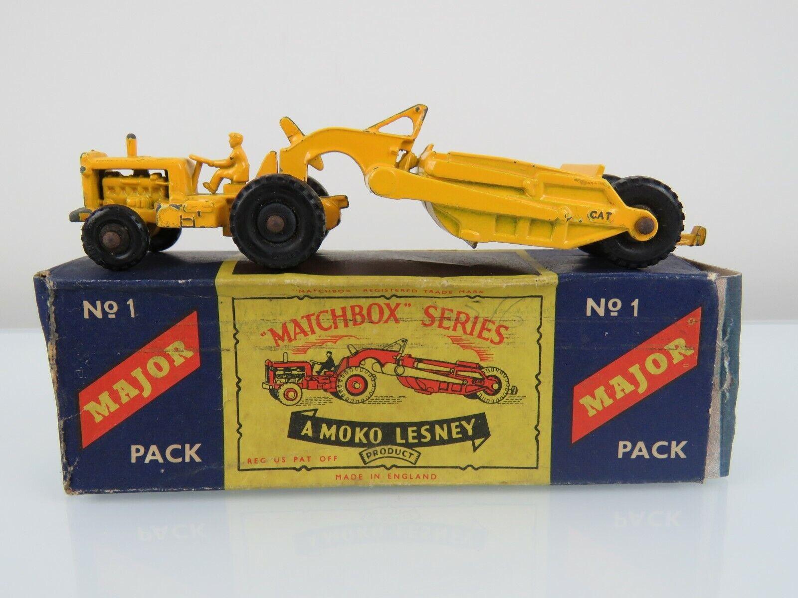 Lesney Matchbox 1957  M-1 Caterpillar tierra Raspador principales Pack ruedas regulares