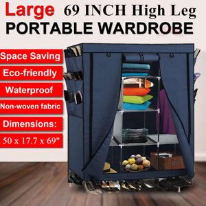"69"" Portable Closet Storage Organizer Clothes Wardrobe With Shoe Rack Shelves"
