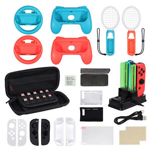 For Nintendo Switch Grip, Steering Wheel, Tennis Racket, Carry Bag Accessory Kit