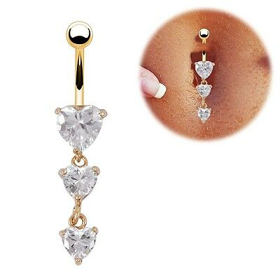 Body Piercing Gold Navel Rings 3 Heart Crystal Clear Dangle Belly Button Rings