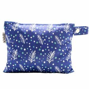 Small-Waterproof-Wet-Bag-with-Zip-19-x-16cm-Navy-Leaves-Design