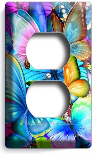 COLORFUL BUTTERFLIES DUPLEX OUTLET WALL PLATE COVER BABY ROOM NURSERY HOME DECOR
