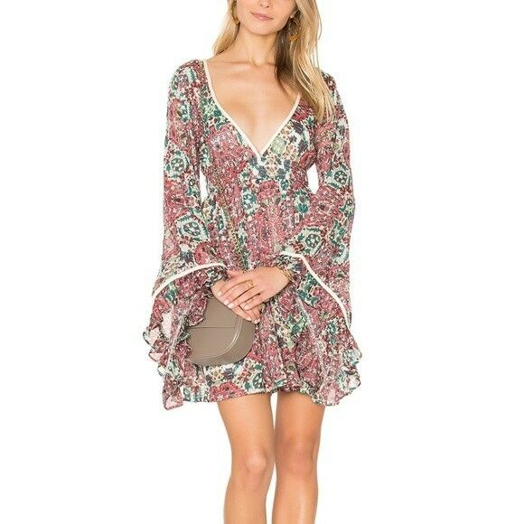 RAGA Womens Floral Dress Bell Sleeve Size XS