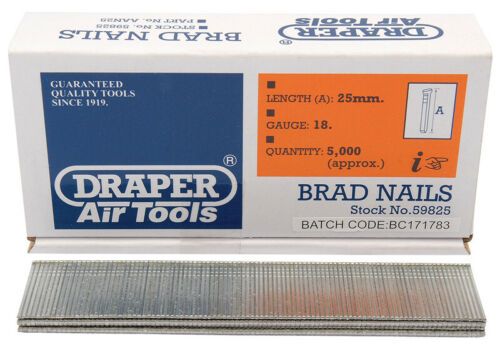 Genuine Draper 25 mm Brad Nails 5000 59825