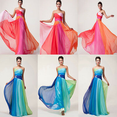 Sexy Women Slim Colorful Chiffon Long Formal Evening Celeb Prom Party Dress Gown