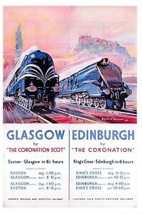 Vintage-Repro-Travel-Poster-Postcard-LNER-LMS-Railway-Coronation-Scot-97N