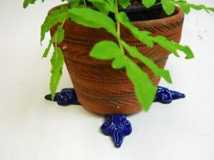 "POT FEET Ceramic Flower Planter Risers ""Fleur de Lis"" Royal Cobalt Blue set 4"