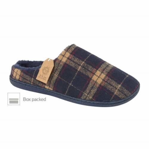 Jo /& Joe Mens Malton Navy Blue Checked Tweed Fur Lined Mule Slippers Boxed
