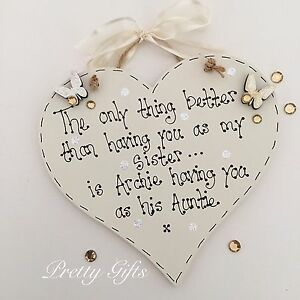 Personalised Only Thing Better Sister Auntie Heart Plaque Keepsake Gift Handmade