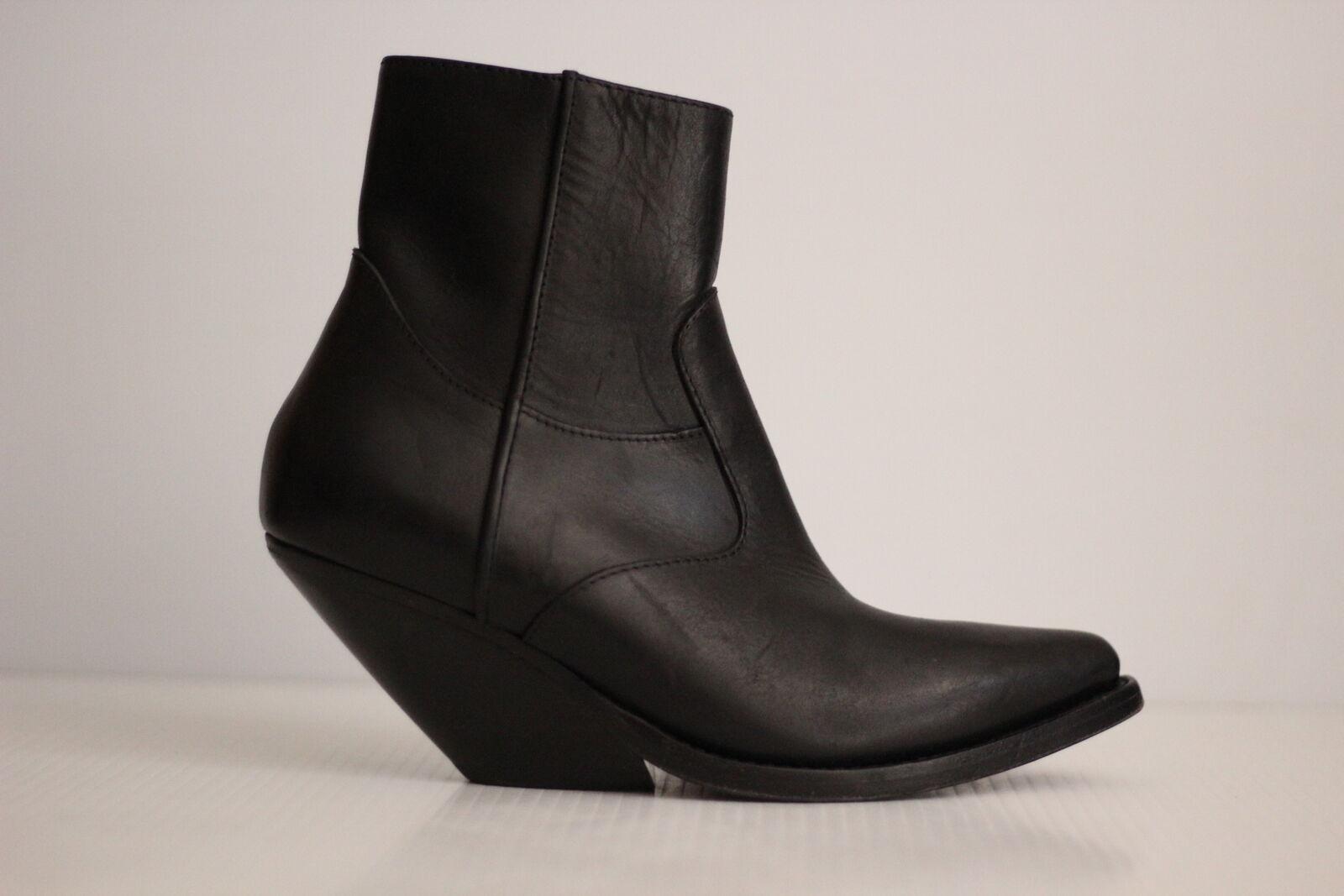 Vetements Demna Gvasalia Slanted Heel Black Leather Cowboy Ankle Ankle Ankle Boots- 7US   37 2d15d8