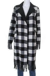Sosken-Womens-Wool-Fringe-Plaid-Jasmin-Jacket-Black-White-Size-0