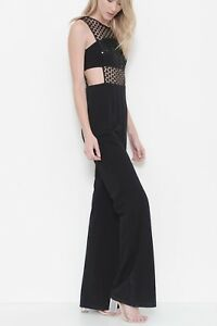 NEW-Black-Sequined-Cut-Out-Sleeveless-Jumpsuit-Misses-Multiple-Sizes