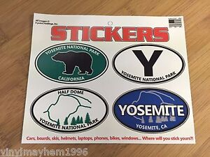 Yosemite-National-Park-oval-sticker-decal-sheet-travel-Sierra-truck-SUV-laptop