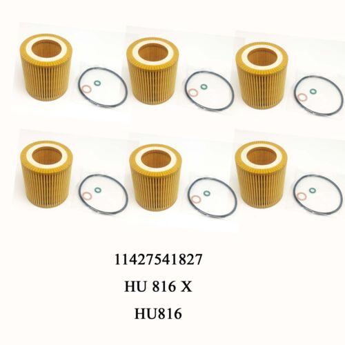 6PCS New Oil Filter Kit For BMW E60 E82 E88 E90 E92 E93 11427541827 HU816X