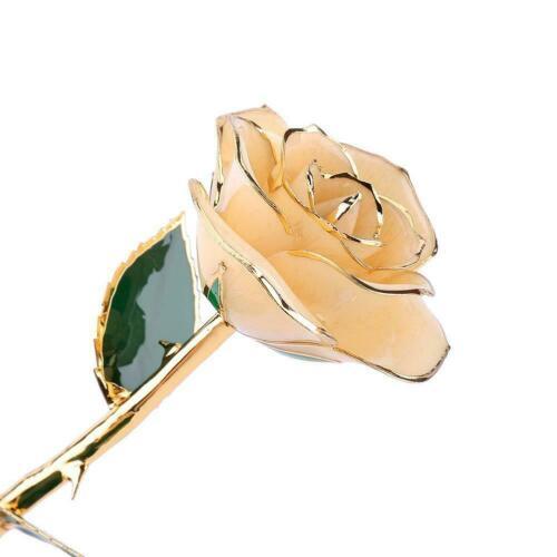 Forever Long Stem 24k Gold Dipped Rose Flower Green Leaves Craft