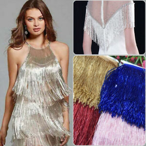 15cm-Beaded-Glass-Tube-Fringe-Tassel-Trim-Lace-Ribbon-Dance-Costume-Party-Dress