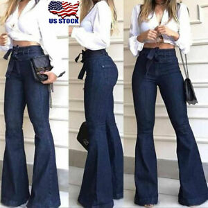 Womens-High-Waist-Denim-Bell-Bottom-Ladies-Stretch-Jeans-Wide-Leg-Pants-Trousers