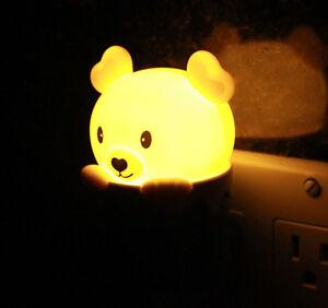 Cute Bear Wall Plug LED Night Light Baby Room Sleeping Light Energy Saving Lamp